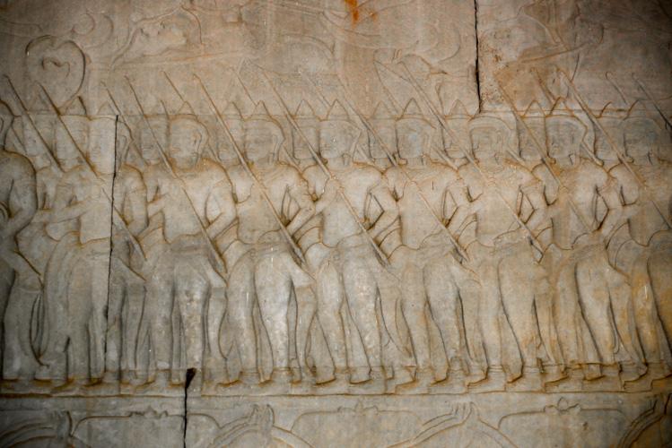 Fragment płaskorzeźby na ścianach Angkor Wat