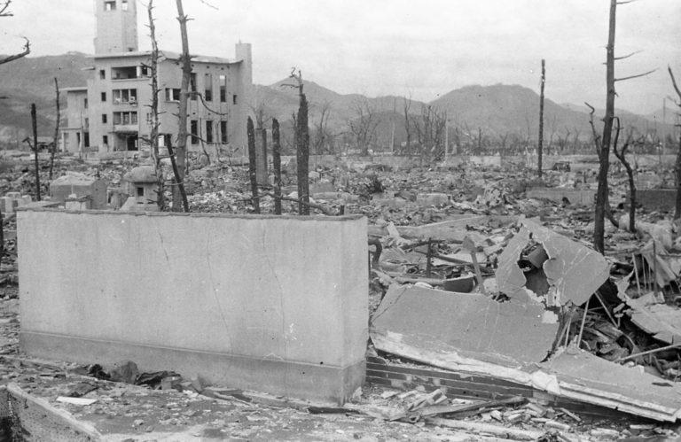 40 m od hipocentrum, tuż przy szpitalu Shima. Zdjęcie: Shigeo Hayashi, dzięki uprzejmości Muzeum Pokoju w Hiroszimie