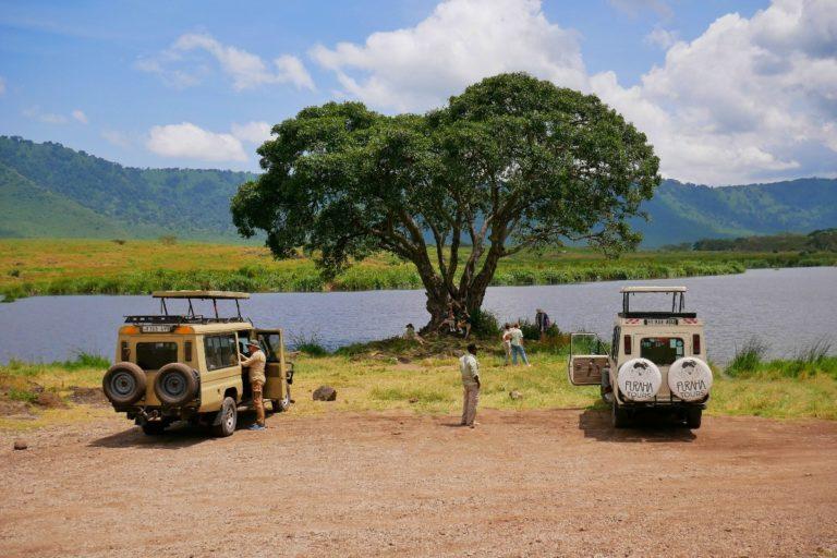 Miejsce odpoczynku w Kraterze Ngorongoro, gdzie można wyjść z samochodu