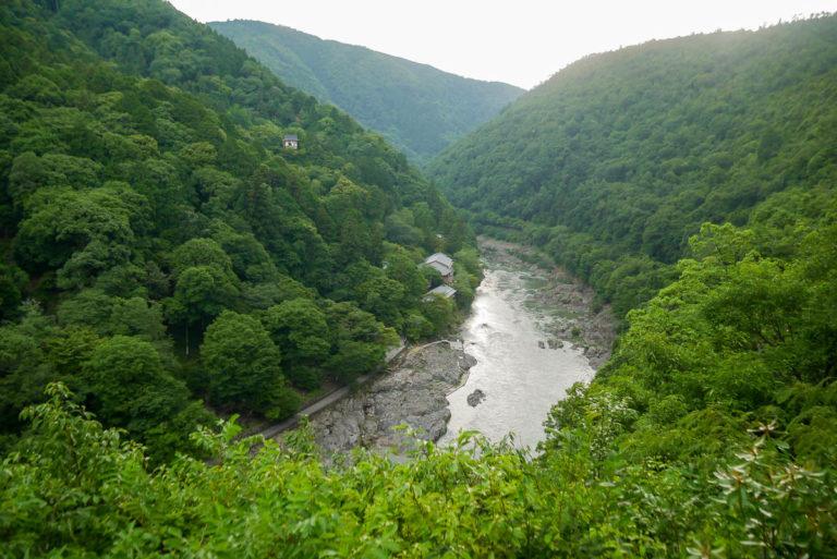 Widok na rzekę Hozu. Zielone wzgórza dzielnicy Arashiyama